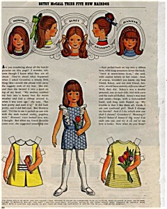 1971 Betsy McCall New Hairdo Paper Doll UNCUT (Image1)