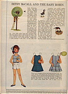 1964 Betsy McCall BABY ROBIN Paper Doll UNCUT (Image1)