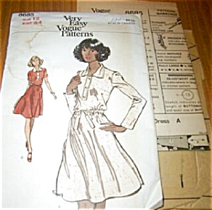 1970s Vogue Pattern Flared Dress UNCUT (Image1)