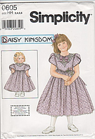 DAISY KINGDOM~GIRL & DOLL DRESS~SZ 3-6~UNCUT (Image1)