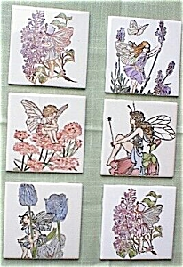Hand Painted Blue Fairy Flowers Ceramic Tile