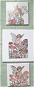 Hand Painted Fairy Ceramic Tile Gold