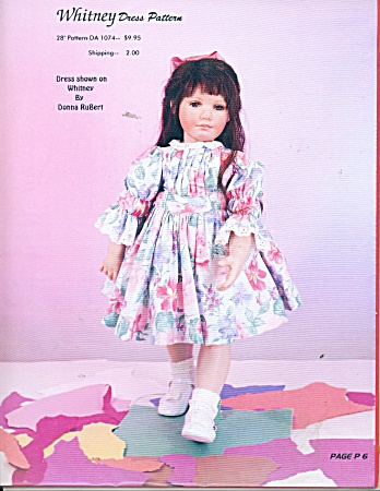 WHITNEY DOLL DRESS PATTERN 28in~ BY DONNA RuB (Image1)