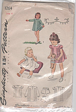 Vintage 40s Simplicity Pattern Girl Pinafore (Image1)