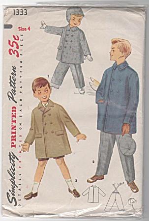 VINTAGE~SIMPLICITY~BOYS COAT~HAT~PANTS~SZ 4 (Image1)