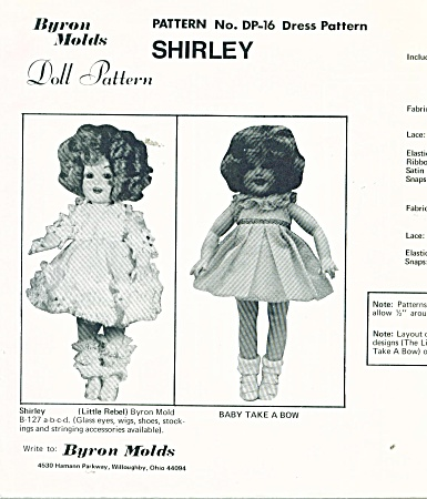Doll Dress Patterns - Shirley Temples Movies