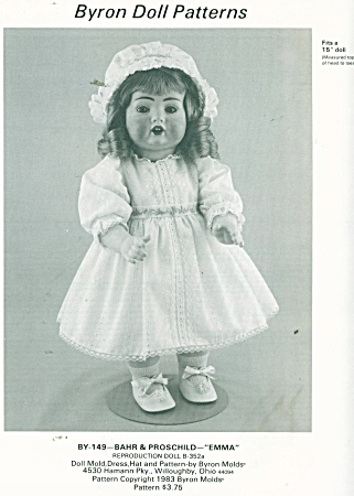 Bryon Doll Pattern Dress And Hat 15 In Doll
