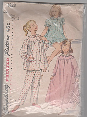 1956~VINTAGE~ SMOCK TOP PJ'S~NIGHTGOWN (Image1)