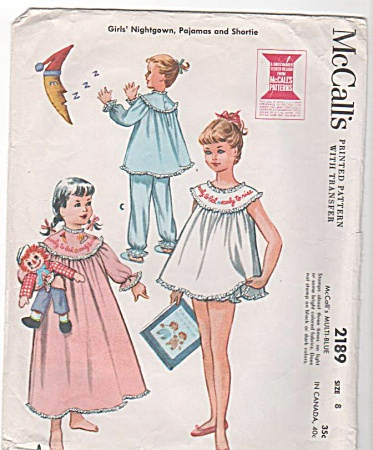 Girls - Nightie - Short Pjs - Vintage - Sz 8 - 1957