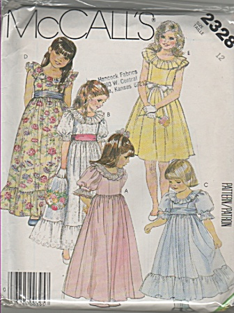 Mccall's - Sz 12 - 5 Girl's Long Dresses - 2328