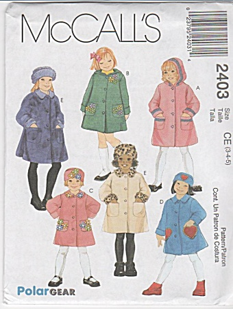 Girls Fleece Wool Coat Hat Hood Pattern - 4-6-