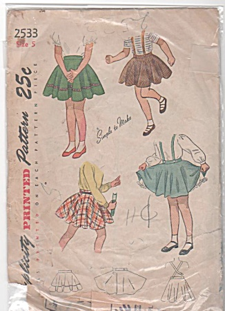 Vintage - 1940s - Girls Skirt - S 5 - Simplicity 2533