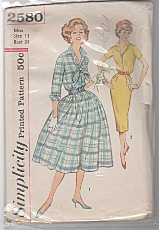 VINTAGE~1948~SIMPLICITY~DRESS PATTERN~SZ14 (Image1)