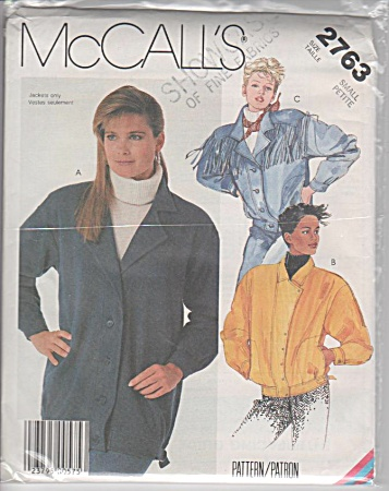Mccall's - Misses - Unlined Jacket - Oop - 1986 - Sz Sm