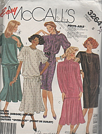 Mccall's - Sz 8 - Miss - Vintage - Dress - Oop - 1986