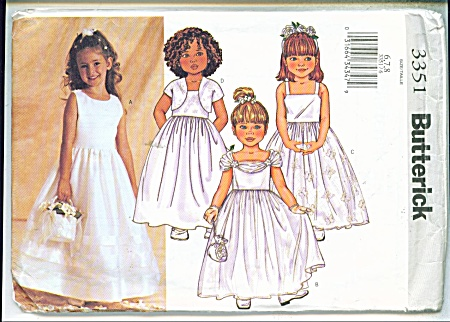 BUTTERICK PATTERN 3351 PARTY DRESS 6,7,8 (Image1)