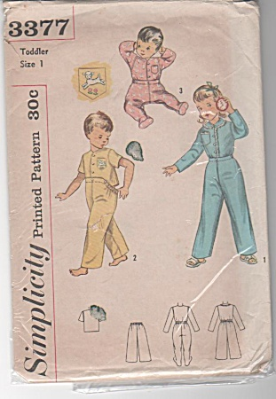 Simplicity 3377 Toddlers' Footed Pj's - 1950 - Sz