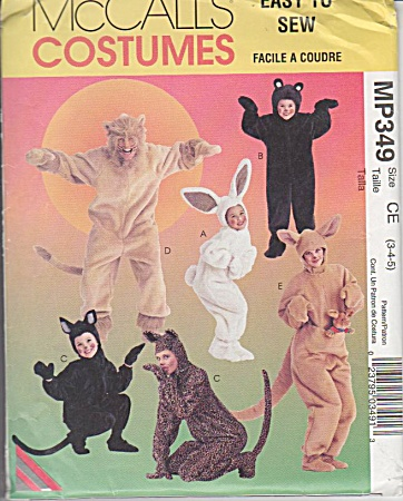 Mccall - Animal Costume - Sz 3-4-5 - Uncut