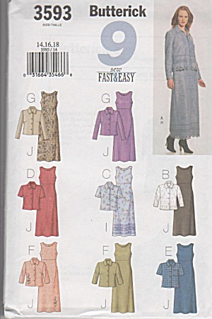 Butterick 3593~Easy~9 Looks~Dress etc~Sz14-18 (Image1)