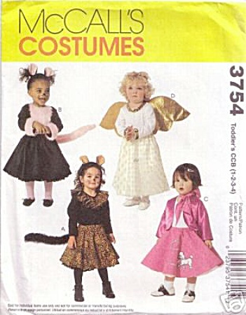 GIRLS COSTUMES-4 STYLES~ANGEL~CAT~ETC-1 to 4 (Image1)