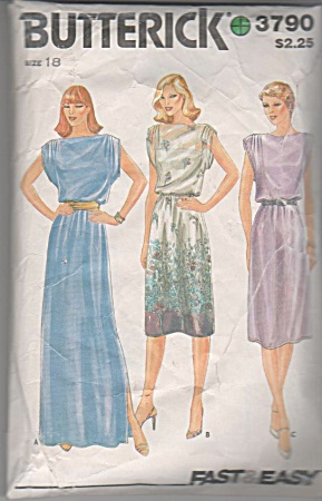 Vintage - Butterick - Dress 2 Lengths - Sz 18