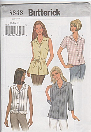 Butterick 3848 - M/mp-14-18 - Top And Belt - Oop