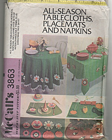 Mccall's - One Size - Tablecloths - 3863 - Vintage