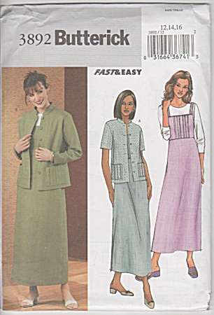 Butterick - 3892 Misses' Jacket/dress - Oop - Uncut