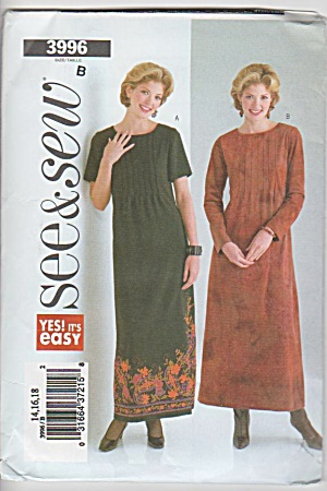 Butterick - 3996 - Misses Dress - Sz14-18 - Oop