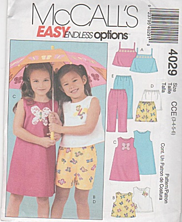 McCALL'S 4029~GIRLS~SUMMER WARDROBE~SZs 3-6 (Image1)