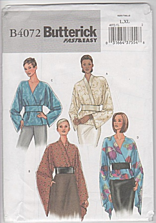 Butterick - B4072 - Misses Tops - Belt - Sz L-xl - Oop