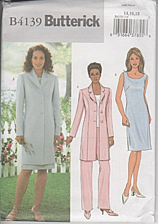 Long Jacket - Top - Dress - Pants - Sz 14-18 - B4139 - Oo