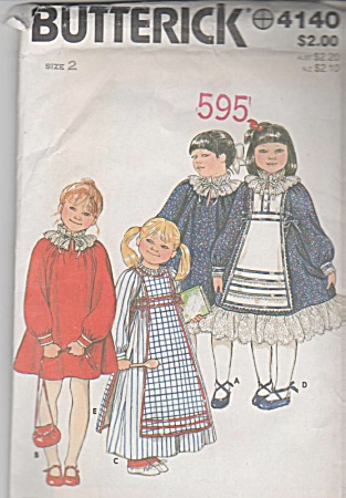 GIRLS BUTTERICK DRESS TABARD PATTERN 4140 (Image1)