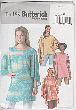 Butterick - 4189 - Sz L-xl - Tops Ladies Womens - Unc