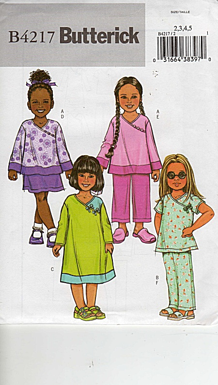 Oop - Butterick - B4217 - Girls Outfits - Sz 2-5 - New