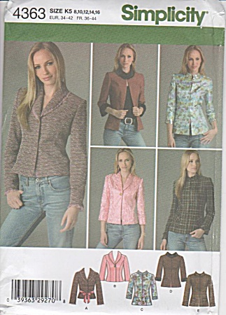Simplicity - 4363 - Misses Lined Jacket - Sz 8-16