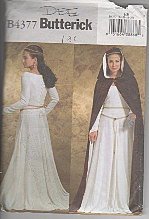 RENAISSANCE DRESS~CAPE~SZ14-20~BUTTERICKUNCUT (Image1)