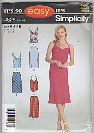 Misses - Bias Skirt Tops - Oop - Sz 6-16 - 4526 - Uncut