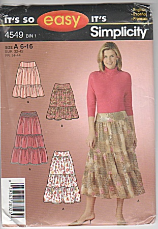 Simplicity - Ruffled Skirt - 2 Lengths - Sz 6-16 -