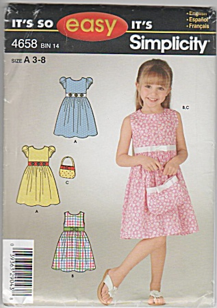 Simplicity - Easy - Girl's Dress - Purse - Sz 3-8