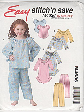 Childs - Easy Pajamas - Nightgown - Pattern4636 B