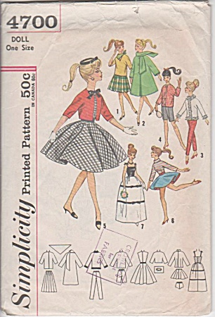 Vintage - Barbie Doll Dress Pattern - Simplicity -
