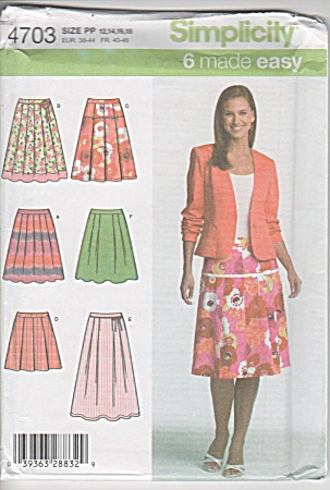 Simplicity 4703 Misses Skirts In 2 Lengths Pp