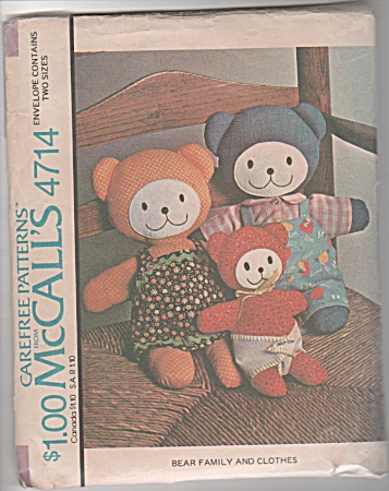 McCALLS~BEAR FAMILY AND CLOTHES~PATTERN 4714 (Image1)