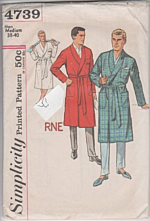 VINTAGE~MEN'S BATHROBE~SZ MED~SIMPLICITY 4739 (Image1)