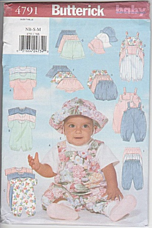 INFANTS~11OUTFITS~BUTTERICK 4791A~SZ NB-S-M (Image1)