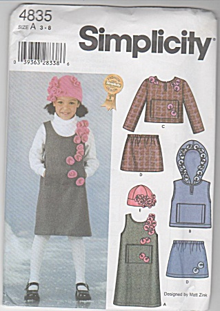Girl Jumper Vest Top Skirt Hat Flowers Patter