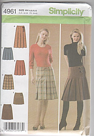 Misses - 6-12 - Pleated Skirts - Simplicity - 4961 - Oo