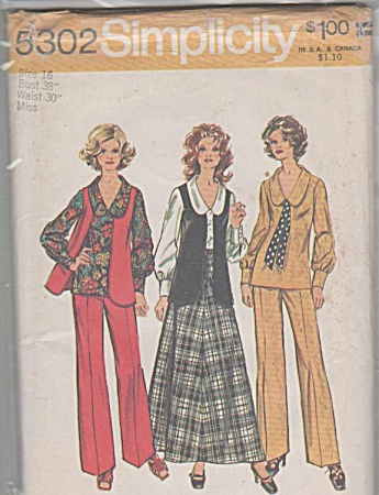Vintage 70s~Retro BLOUSE SKIRT PANTS~Pattern (Image1)