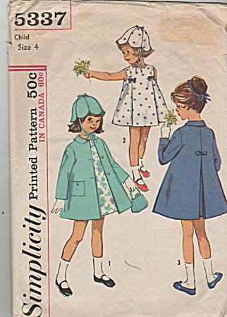 Vintage - Simplicity - Sz -4 - Coat - Dress - Oop